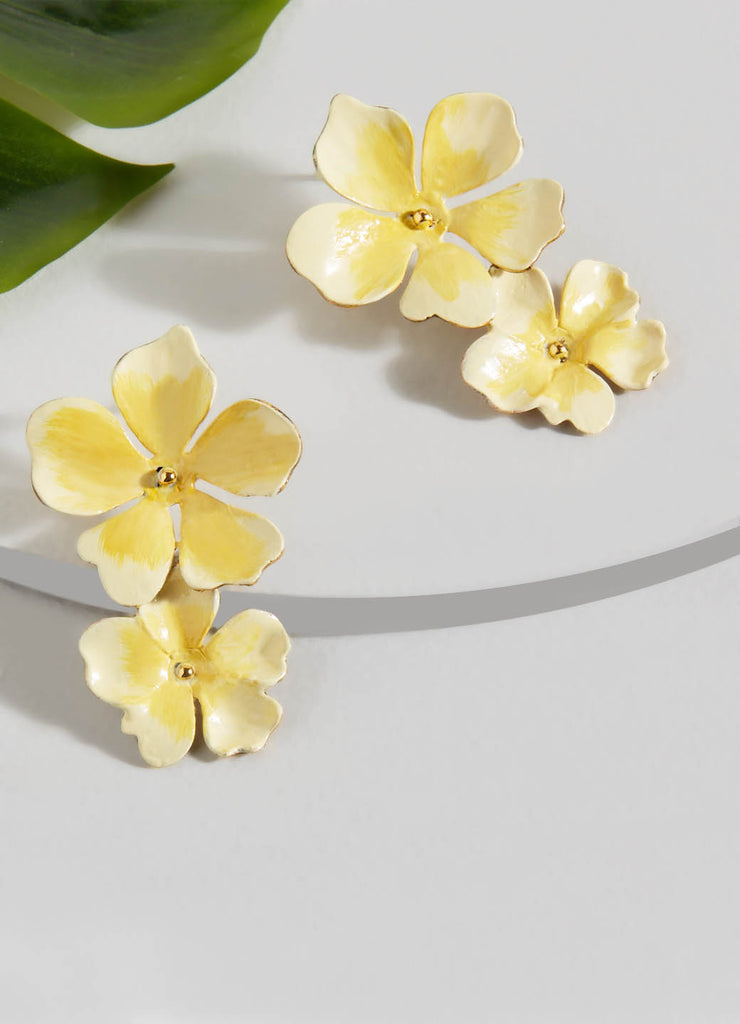 Beack Floral Earrings (Yellow)
