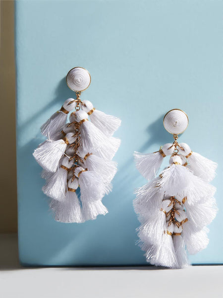 Daisy White Tassel Earrings