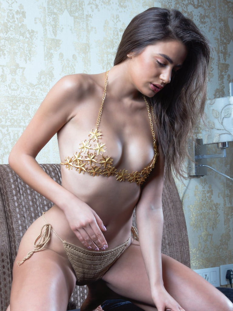 Cosmic Jeweled Bra with Crochet Panty