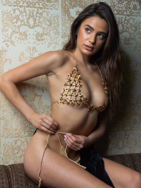 Dahlia Star Jeweled Bra with Crochet Panty