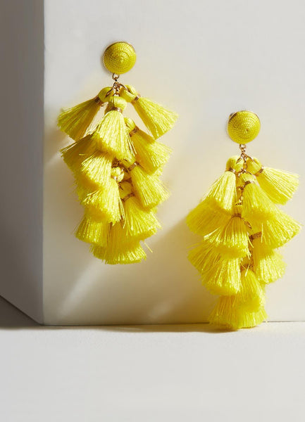 Daisy Yellow Tassel Earrings