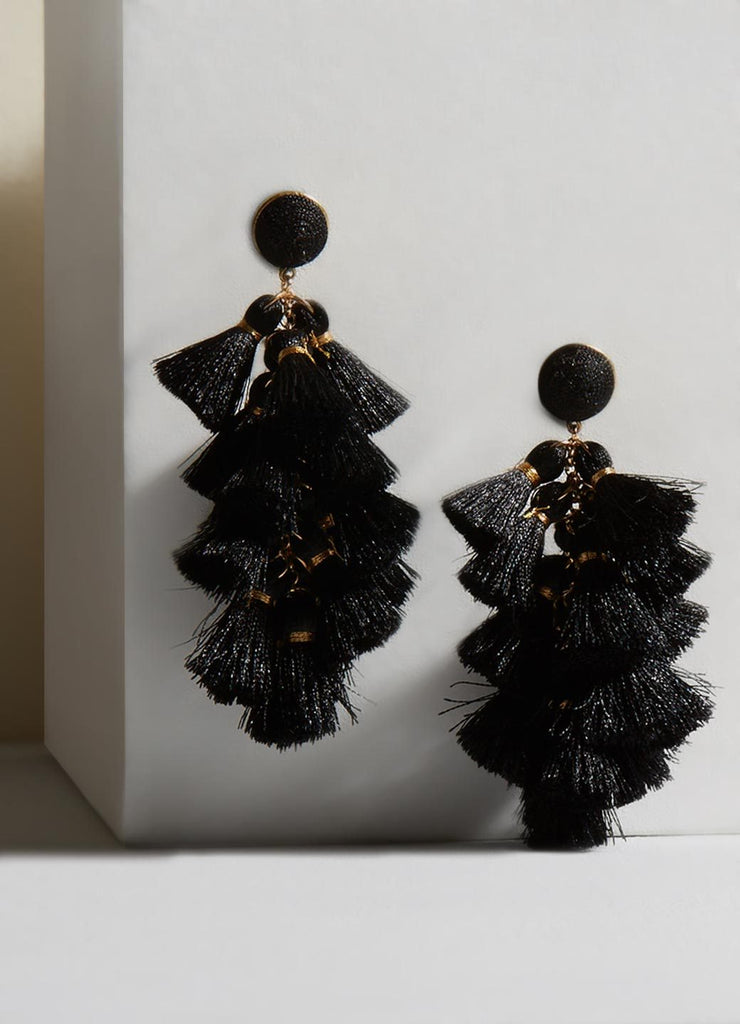 Daisy Black Tassel Earrings