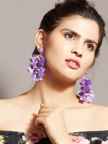 Daisy Purple Tassel Earrings