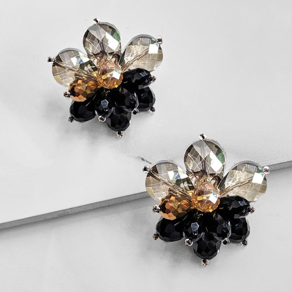 Presley Crystal Stud Earrings (Black)