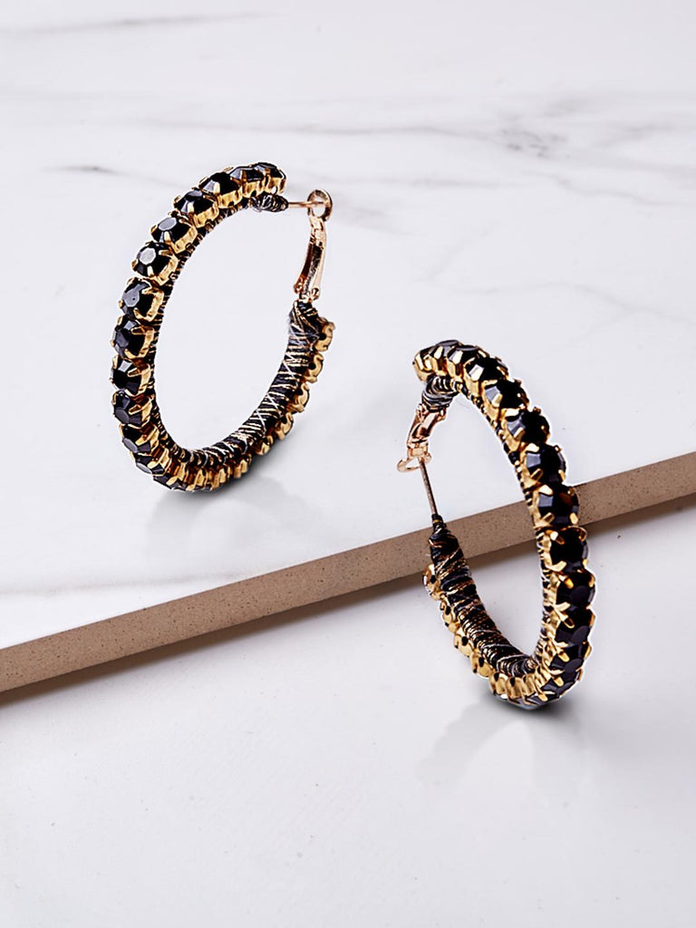 Farcia Black Hoop Earrings