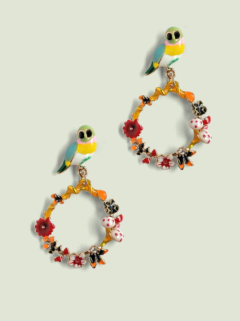 Nature In Enamel Earrings