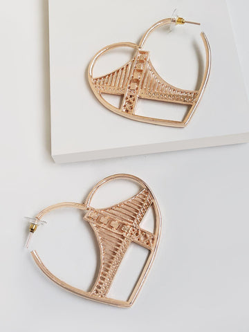 Iconic Golden Gate Heart Hoop Earring