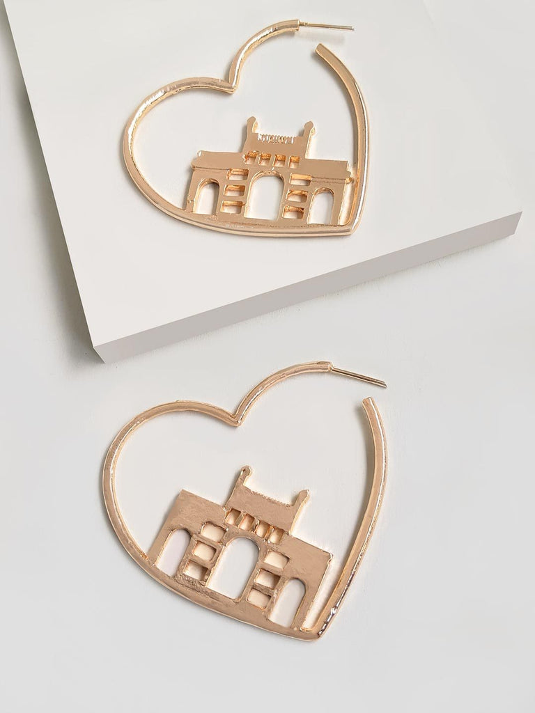 Colossal Gateway Of India Heart Hoop Earring