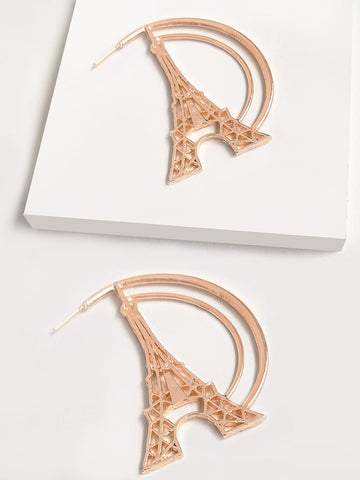 Iconic Eiffel Tower Heart Hoop Earring
