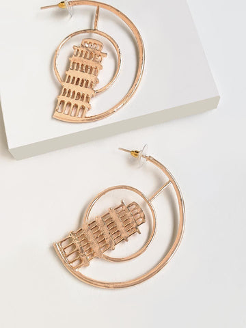 Ellaborate Leaning Tower Of Pisa Heart Hoop Earring