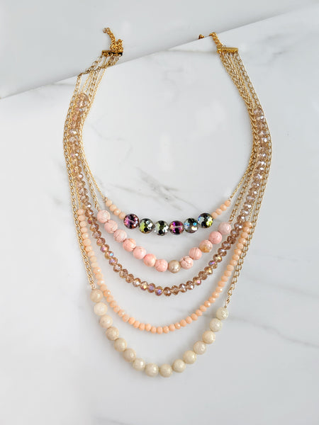 Pearl Crystal Layered Necklace