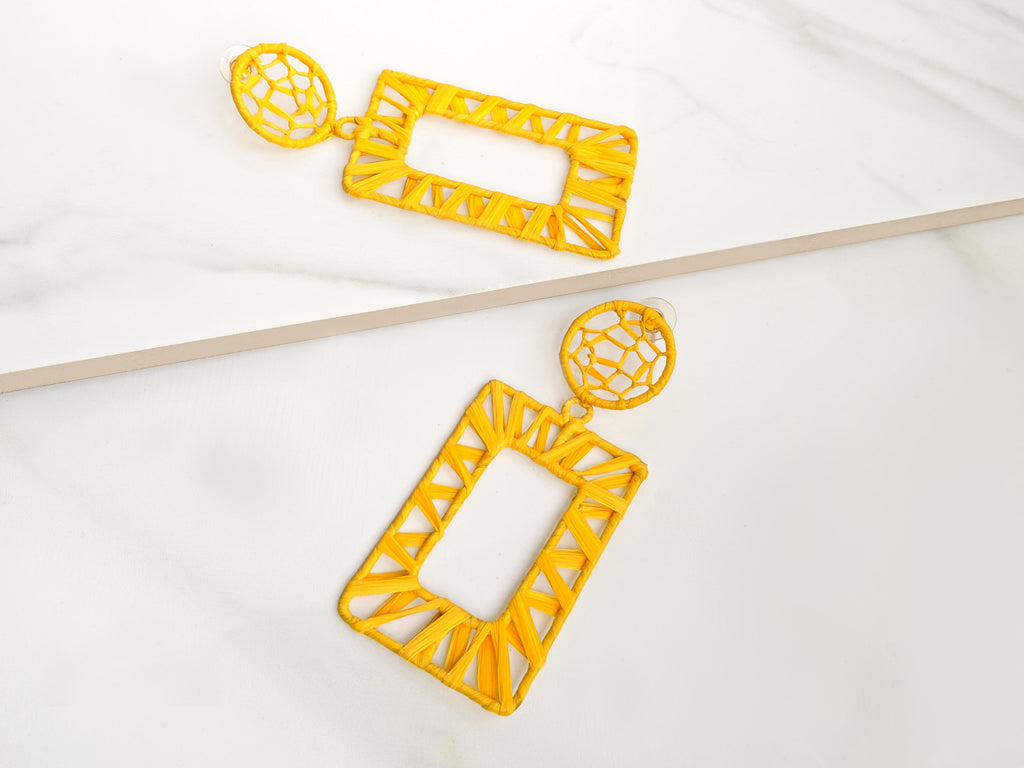 Raffia Yellow Earrings
