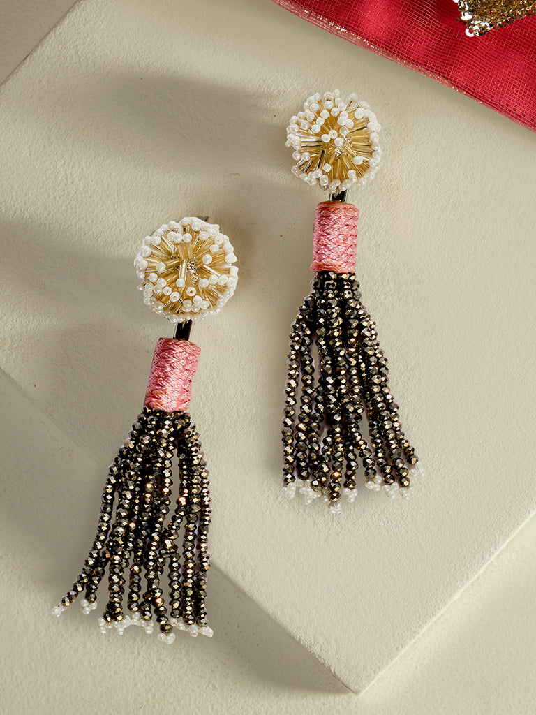 Fleur Round Silk Drop Earrings (Pink)