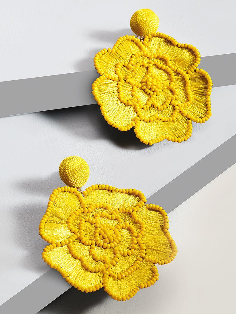 Floret drop earrings (yellow)