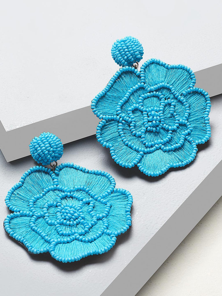 Floret drop earrings (Blue)