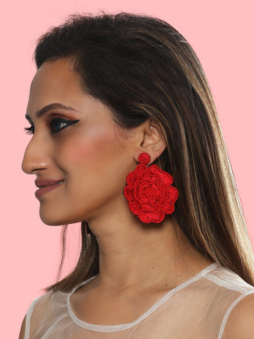 Floret drop earrings (Red)