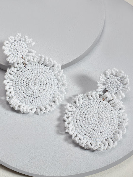 Marise flower earrings (White)