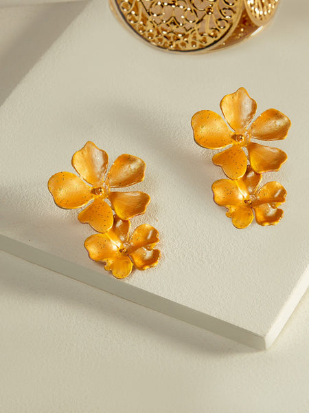 Beack floral earrings (Yellow metallic)