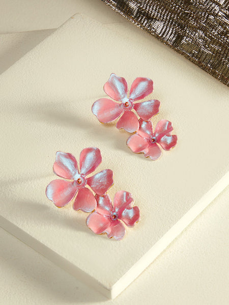 Beack floral earrings (Pink metallic)