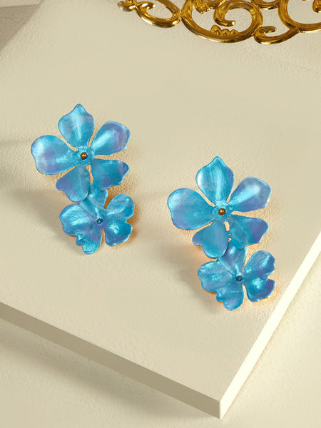 Beack floral earrings Blue metallic)