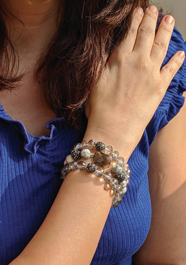 Grey Crystal three Layared Bracelet