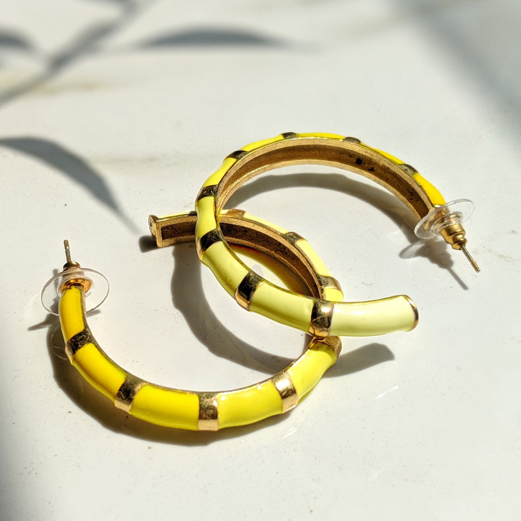 Shellac Yellow Color Hoop Earring