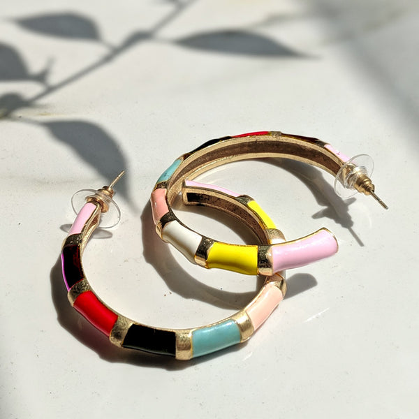 Shellac Multi Color Hoop Earring