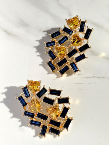Forever Heart Earring(Blue -yellow)