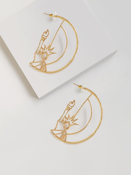 Magnifying Statue Of Liberty Heart Hoop Earring
