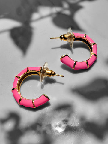 Shellac Mini Pink Enamel Earrings