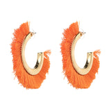 Half Moon Tassel Earrings (Orange)