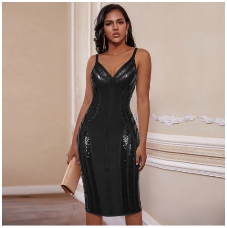 Strap Bandage Sexy Black V Neck Dress