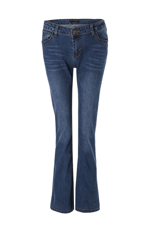 Stylish Mid-Waisted Boot Cut Deep Blue Jeans For Women