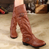 Elastic Band Double Buckle Mid Calf Boots
