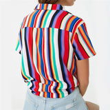 Blouse Women 2019 Summer Short Sleeve Chiffon Blouse Shirt Striped Turn Down Collar Office Shirt Casual Tops Plus Size Blusas