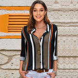 Blouses Women 2019 Leisure Long Sleeve Striped Shirt Turn Down Collar Lady Office Shirt Autumn Blouse Top Blusas Mujer Plus Size