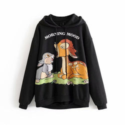 Cartoon Hoodie Women Winter Warm Long Sleeve Hooded Sweatshirt Harajuku Casual Hoodies Loose Funny Female Pullover