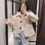 Casual Teddy Coat Women Winter Turn Down Collar Fashion Fur Jacket Solid Long Sleeve Plus Size Coats Outerwear Fourrure Femme