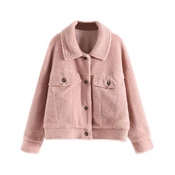 Casual Women Pink Jacket Winter Autumn Button Turn Down Collar Teddy Coat Lady Batwing Long Sleeve Warm Soft Tops Manteau Femme