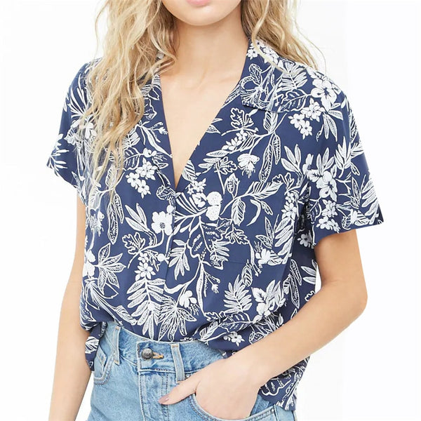 Chiffon Blouse Summer Short Sleeve Floral Print Tops Casual Loose Tops Turn Down Collar Lady Office Shirt Plus Size Blusas Mujer
