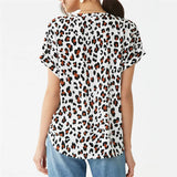 Chiffon Blouse Summer Women Batwing Short Sleeve Blouse Leopard Print Casual Loose Tops Tunic Plus Size Chemisier Femme Blusas