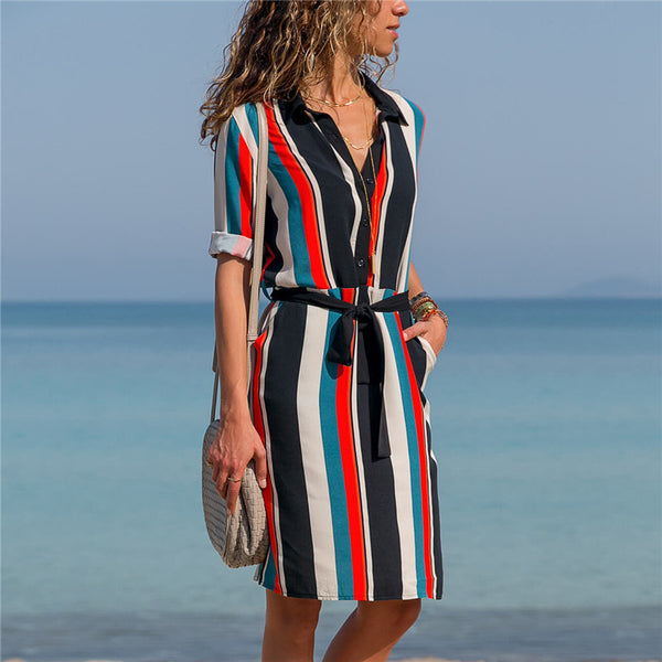 Chiffon Dress 2019 Summer Striped A line Print Boho Beach Dresses Women Long Sleeve Office Shirt Dress Mini Party Dress Vestidos