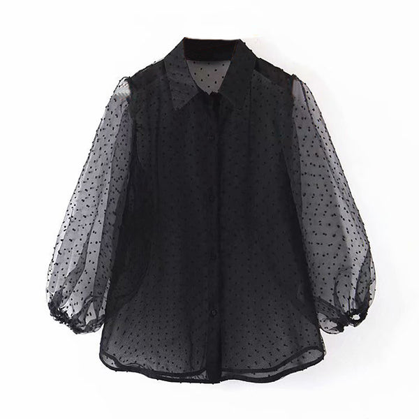 Dots Embroidery Women Elegant Organza Blouse 2019 Lantren Sleeve Black See Through Chic Top Casual Turn Down Collar Shirt Blusas