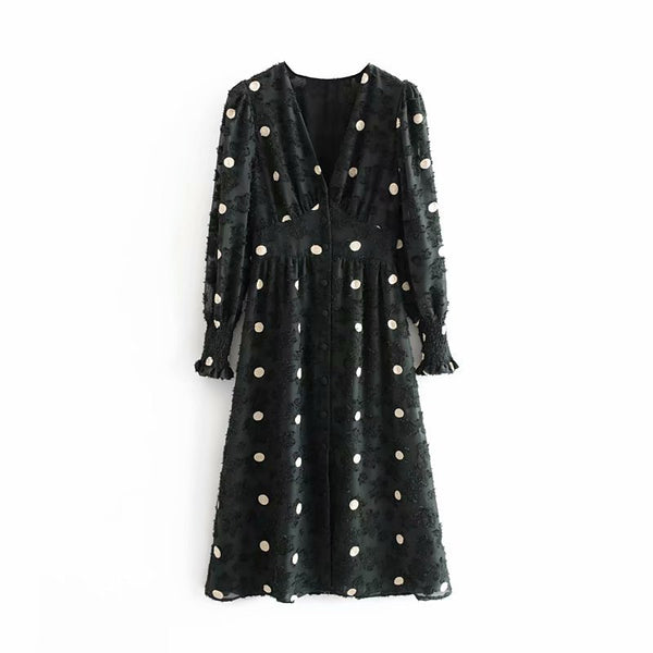 Elegant A line Polka Dot Dress Women Sexy V Neck Elastic Waist Party Midi Dress Ruffle Long Sleeve Vintage Dresses Vestidos