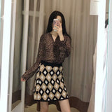 Elegant Geometric Print Women Sweater Skirt Casual Ladies Mini Skirt Vintage Female Print Short Skirt Office Suit Saia Mujer