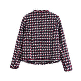 Elegant Plaid Women Coat Long Sleeve Fashion Lady Tweed Jacket Outerwear Autumn Button Patch Designs Chic Tops Casaco Feminino