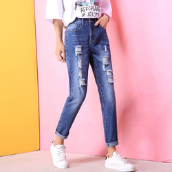 Fashion Holes High Waisted Mom Jeans Retro Solid Washed Denim Scratched Straight Plus Size Pants Women Ankle Length Trousers