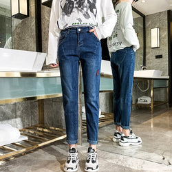 Fashion Korean Style Women Jeans 2019 New Casual Ankle Length Boyfriend Jeans High Waist Loose Streetwear Pants Baqueros Mujer