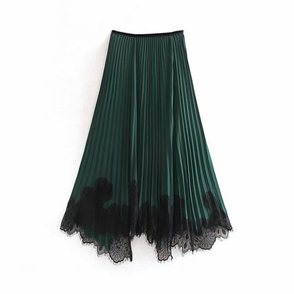 Fashion Lace Patchwork Women Long Skirt Vintage Ladies Loose Irregular Pleated Skirt Elegant Female Elastic Waist Midi Skirts