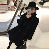 Fashion Solid Women Wool Blend Coat 2019 Autumn Winter Long Sleeve Turn down Collar Outwear Jacket Casual Belt Woolen Coat